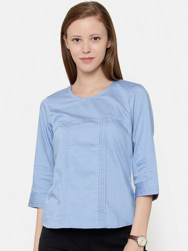 The Work label - Blue Chambray Round Neck Top - Women's western work-wear in India