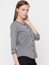 Load image into Gallery viewer, Grey Herringbone Button Down Top