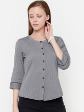 Load image into Gallery viewer, The Work Label - Grey Herringbone Button Down Top - Women's western work-wear in India