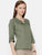 Green Classic Linen Pleated Yoke Top