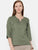 The Work Label - Green Classic Linen Pleated Yoke Top - Women's western work-wear in India