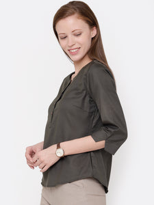 Chic V Neck Button Down Top