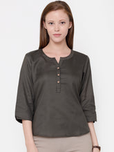 Load image into Gallery viewer, The Work Label - Chic V Neck Button Down Top - Women's western work-wear in India