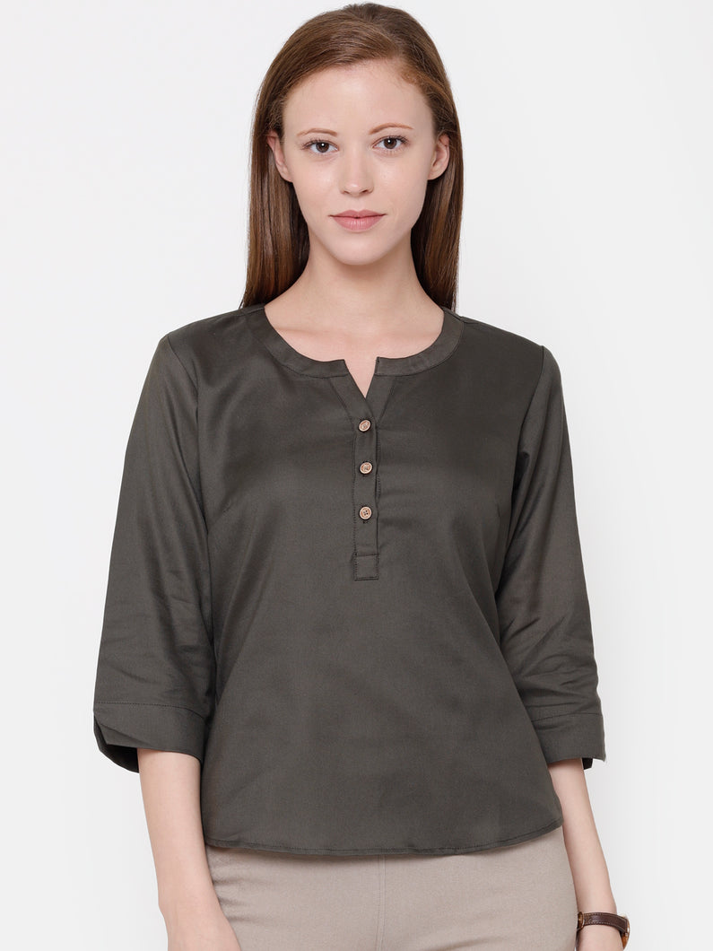 The Work Label - Chic V Neck Button Down Top - Women's western work-wear in India