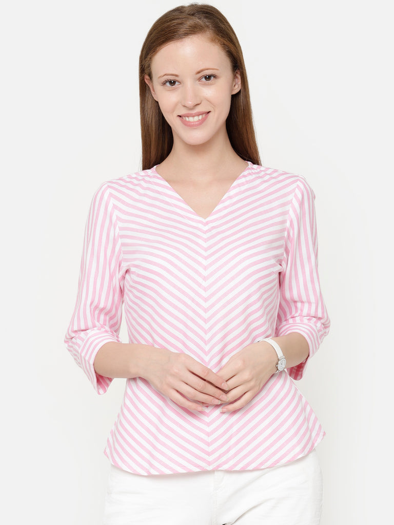 The Work Label - Pink & White Chic V Neck Top - Women's western work-wear in India