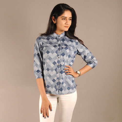The Work Label - Blue & White Checkered Top - Women's western work-work in India