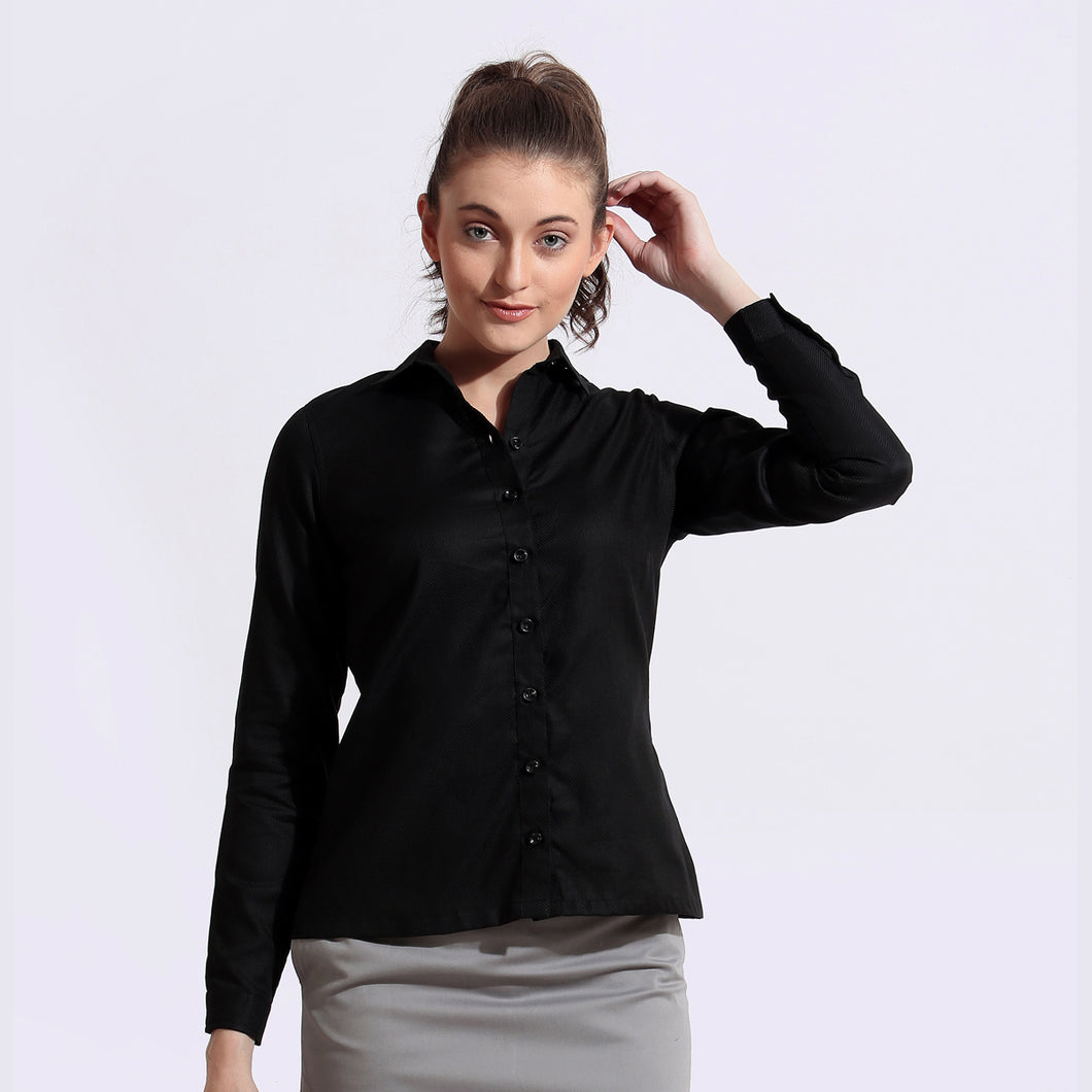 The Work Label - Black Full Sleeves Shirt - Women's western work-wear in India