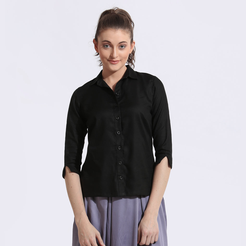 The Work Label - Black 3/4th Sleeves Shirt - Women's western work-wear in India