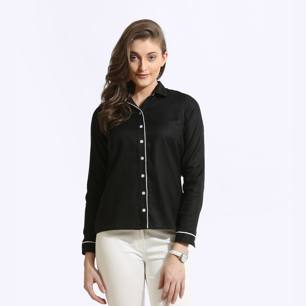The Work Label - Black Contrast Piping Full Sleeve Shirt - Women's western work-wear in India
