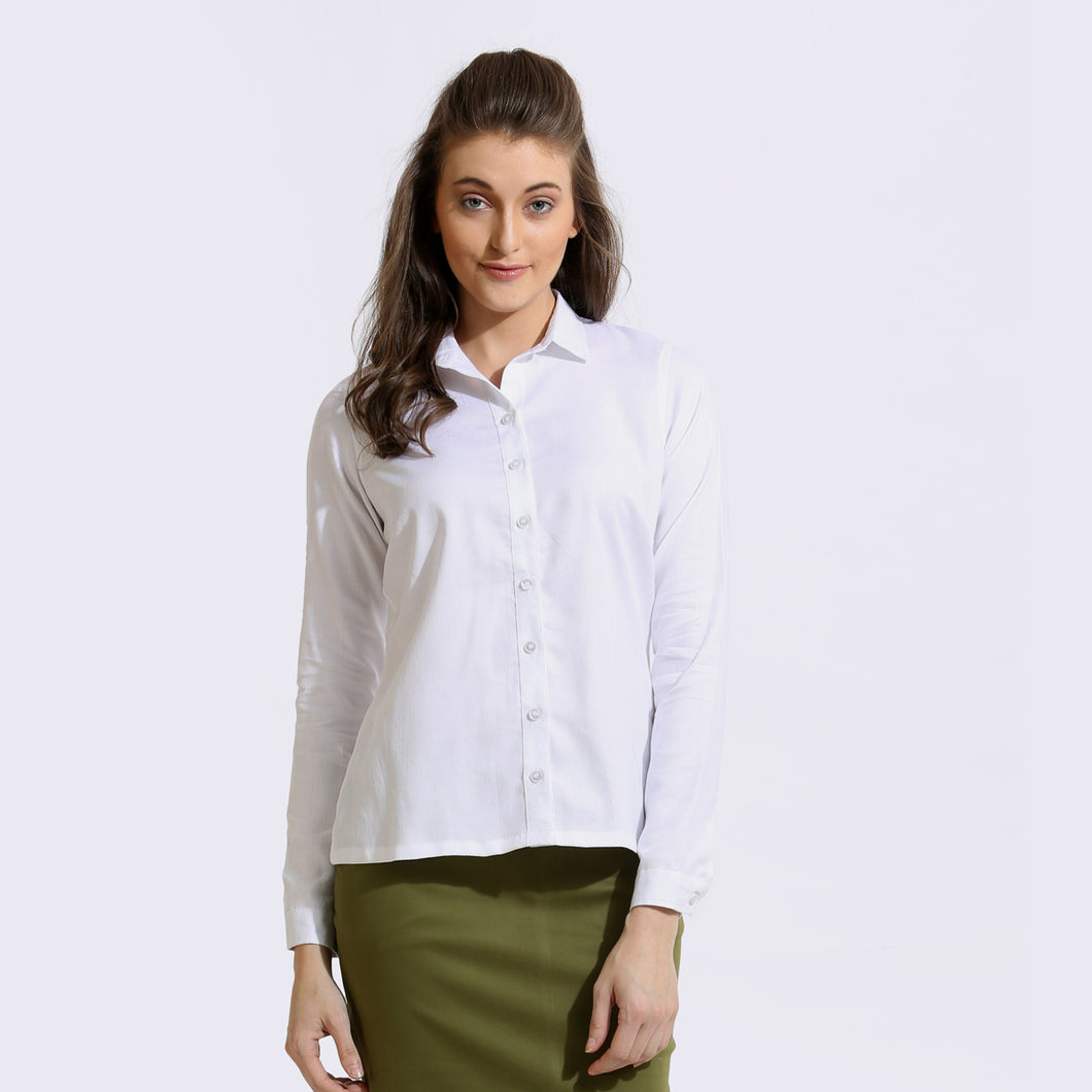 The Work Label - White Classic Full Sleeve Shirt - Women's western work-wear in India