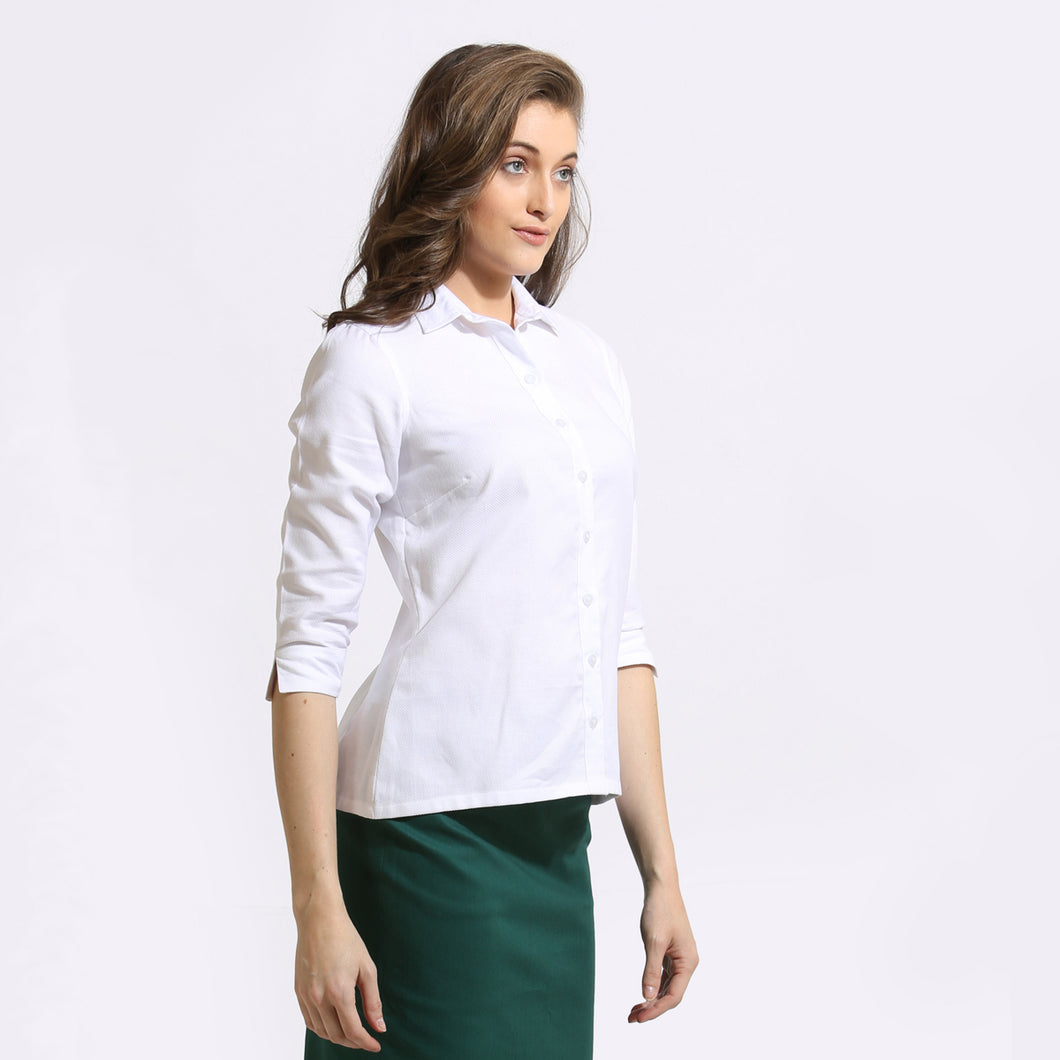 The Work Label - White 3/4th Sleeve Shirt - Women's western work-wear in India