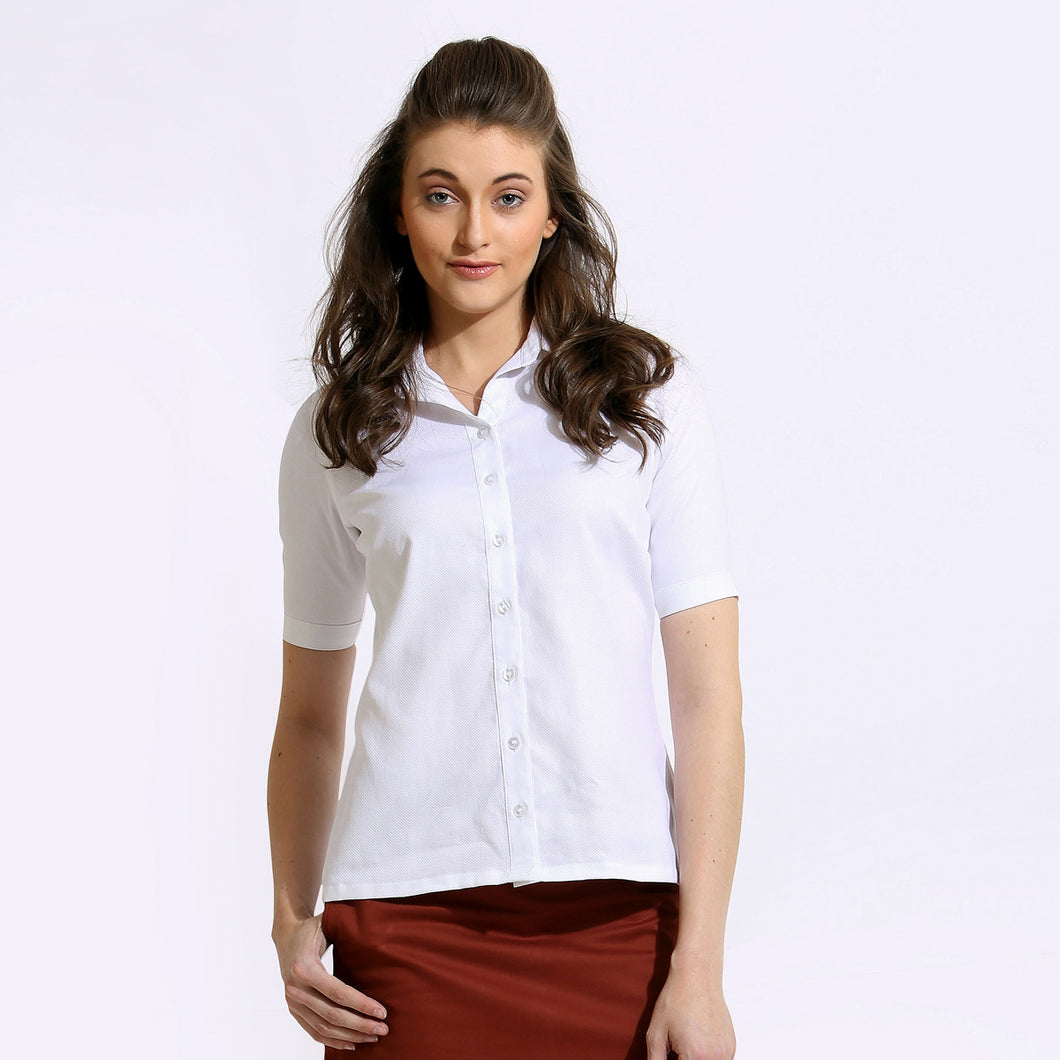 The Work Label - White Classic Half Sleeve Shirt - Women's western work-wear in India