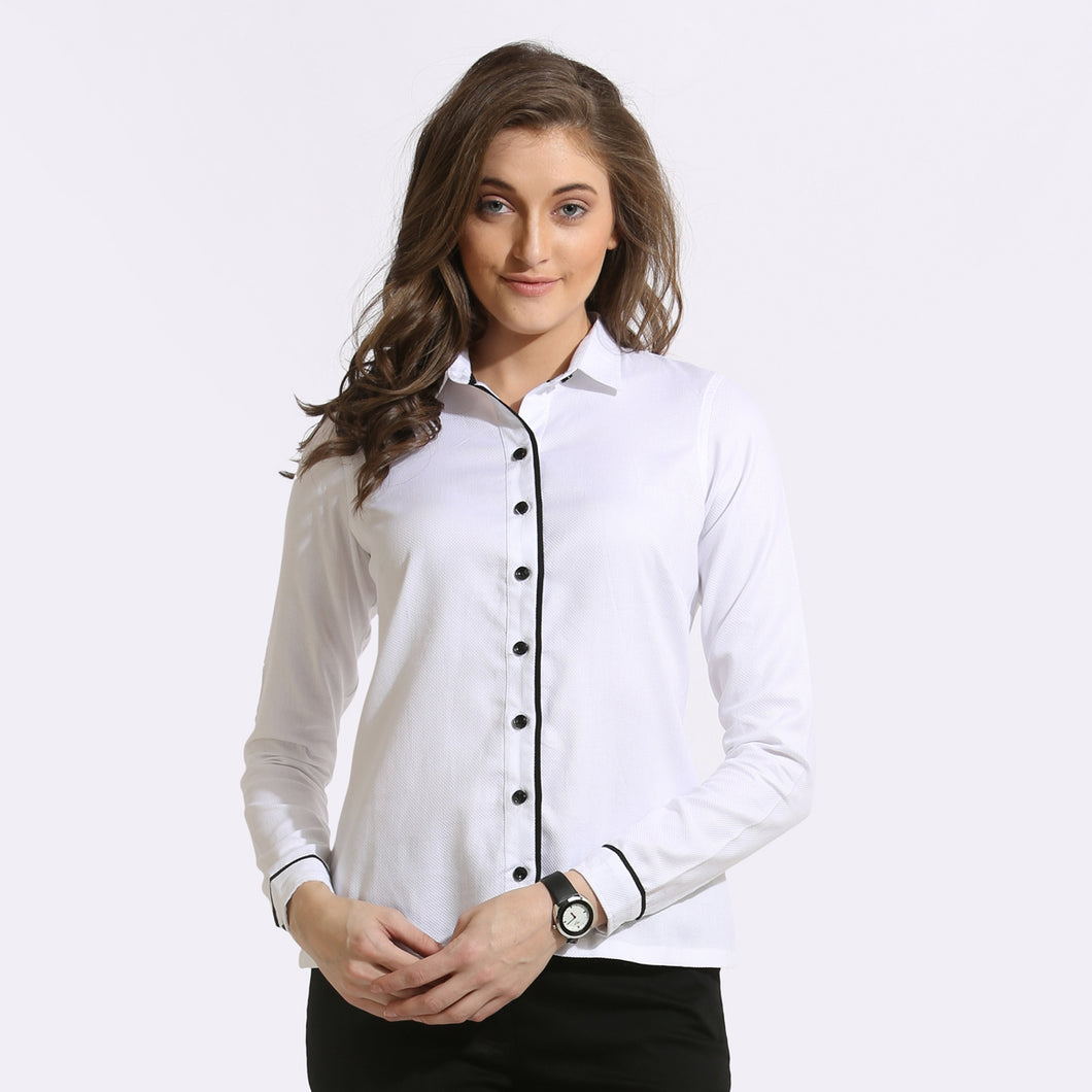 The Work Label - White Contrast Piping Full Sleeve Shirt - Women's western work-wear in India