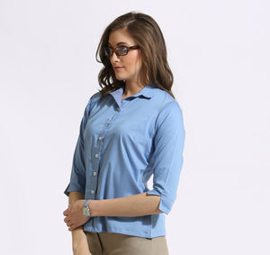 The Work label - Blue chambray 3/4th Sleeve Shirt -  Women's western work-wear in india