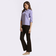 Load image into Gallery viewer, Purple chambray 3/4th Sleeve Shirt