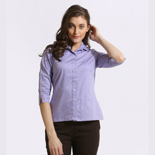Load image into Gallery viewer, The Work Label - Purple chambray 3/4th Sleeve Shirt - Women's western work-wear in India