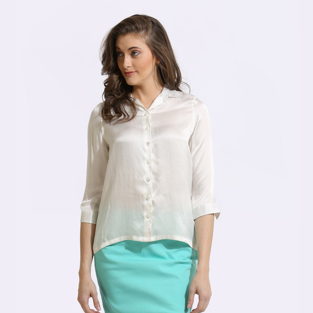 The Work Label - White Chic Silk Shirt - Women's western work-wear in India