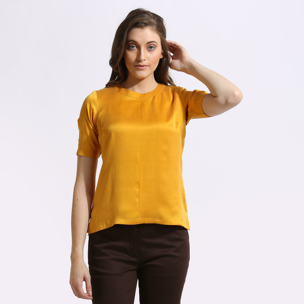 The Work Label - Yellow Silk Top - Women's western work-wear in India