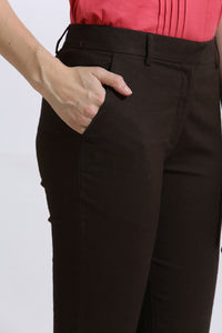 The Elsa Pants Cotton Linen Stretch Deep Brown