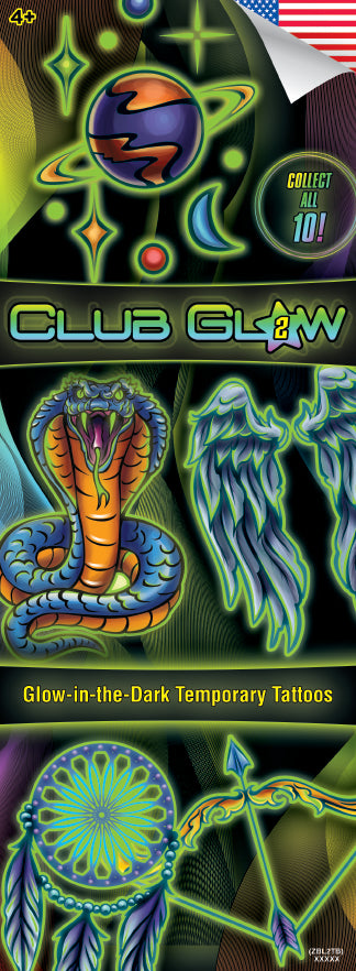 Club Glow 2 (Glow-in-the-Dark) Tattoos