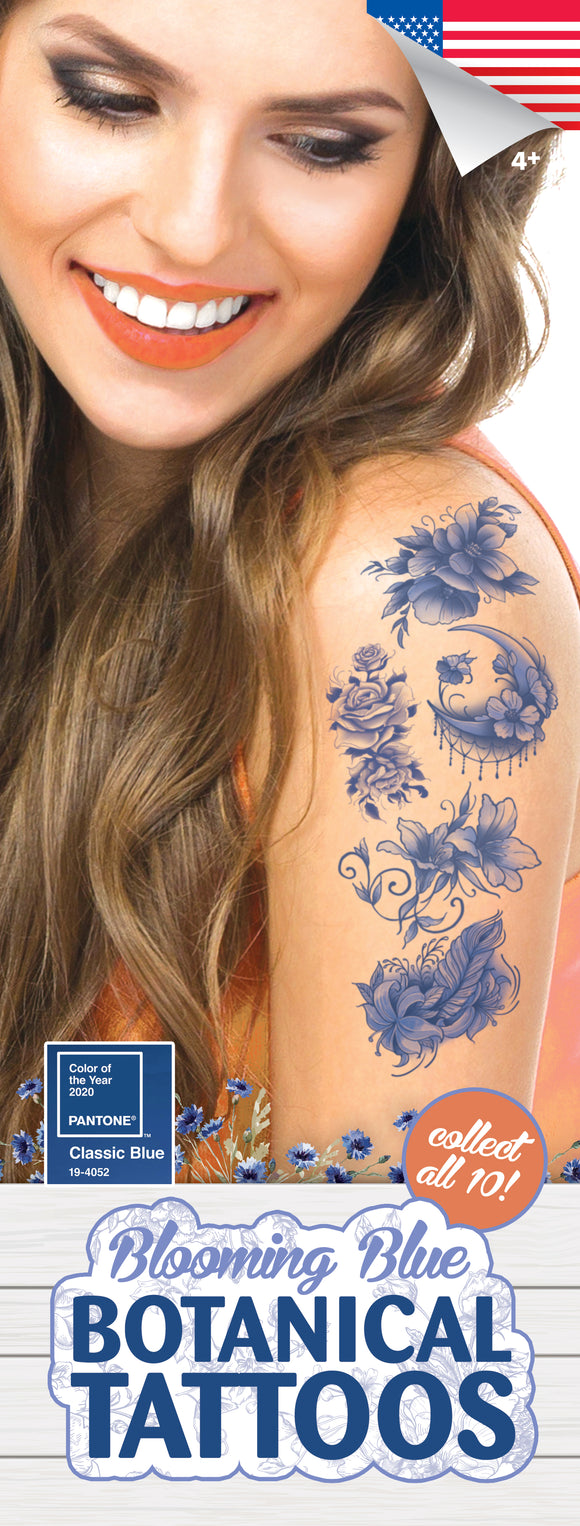 Blooming Blue Botanical Tattoos