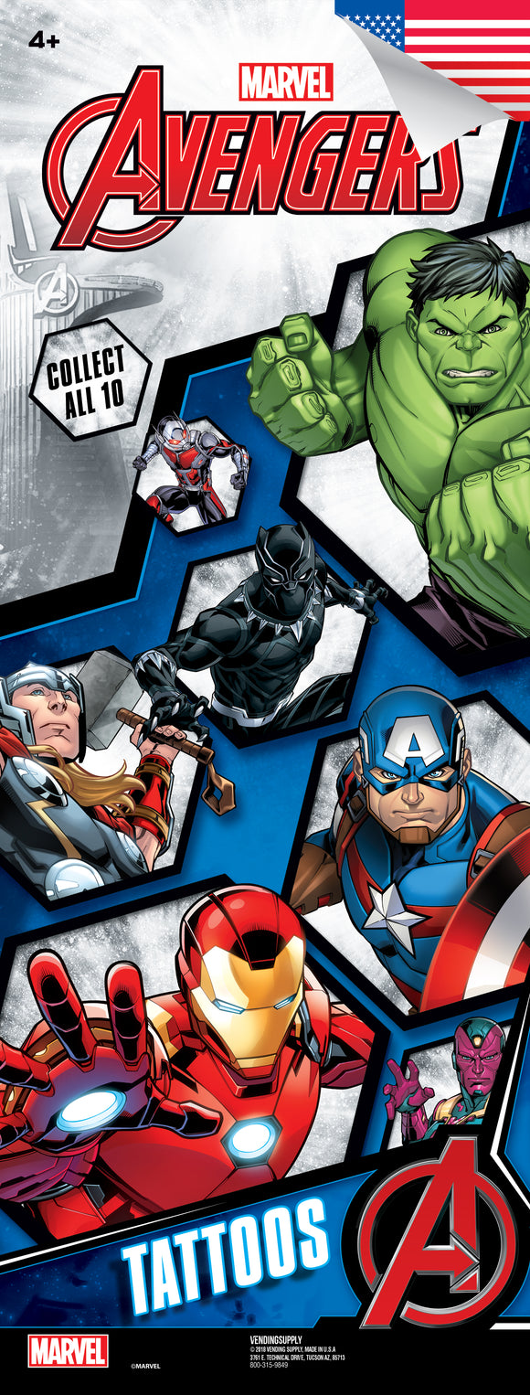 Avengers Assemble 4 Tattoo - DISPLAY CARD - Marvel