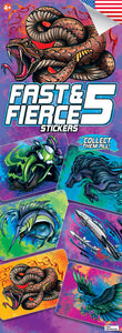 Fast and Fierce 5 Boys Stickers - DISPLAY CARD