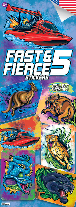 Fast and Fierce 5 Boys Stickers
