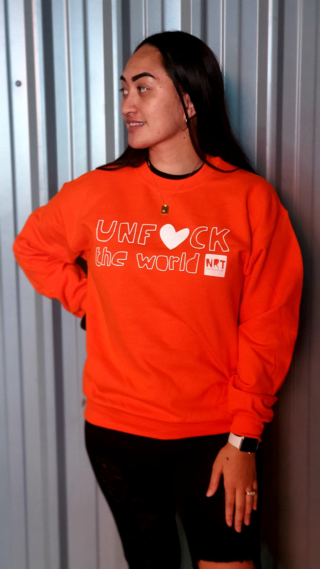 Unisex: Unf*ck the World  Crew In Orange w White