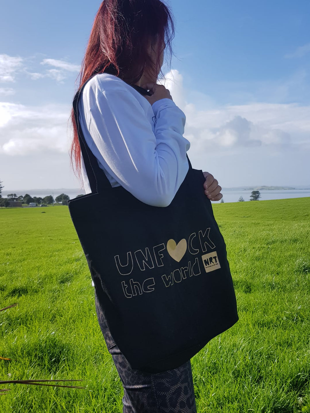Unisex: Unf*ck the World Tote(ally) Bag in Black w Gold
