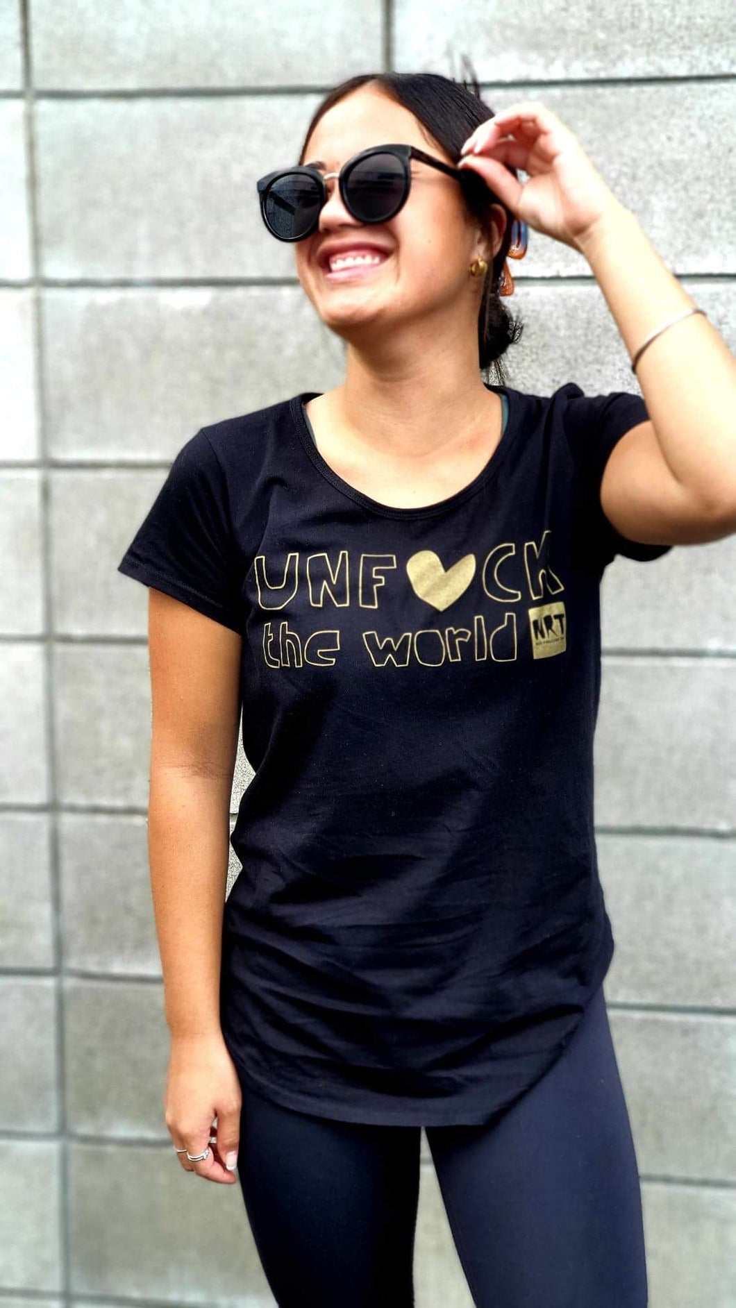 Womens: Unf*ck the World Tee in Black  w Gold - Fitted