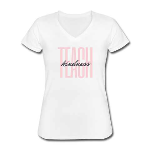 Teach Kindness V-Neck - white
