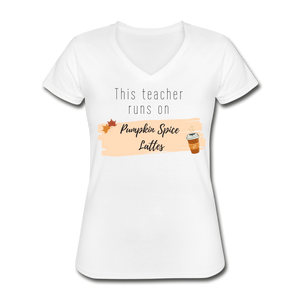 Pumpkin Spice Lattes Women's V-Neck - white
