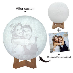 Remote Control 16 Colors - Custom 3D Photo  Moon Lamp, 10cm-20cm Available