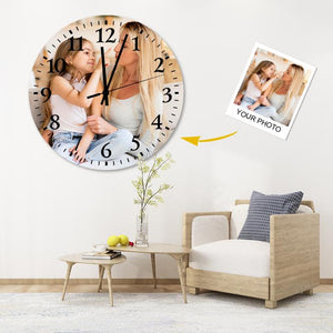 Custom Meaningful Gift Environmental Wood Material Photo Wall Clock