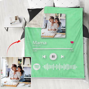 Custom Spotify Code Blankets Personalized Spotify Code Blanket Fleece Blanket 5 Sizes Best Gift for Mom