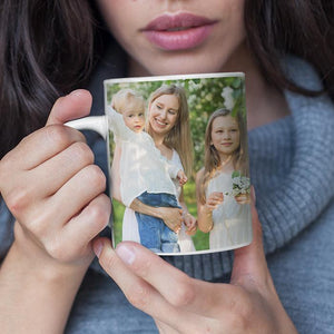 Personalized Mug,Custom Photo Mug,Gift for Mom, Home is Where my Mom is, beautiful flowers