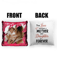 "Load image into Gallery viewer, Custom Photo Magic Sequins Pillow Multicolor Shiny Mermaid Pillow, Double-side printed, The Love between Mother and Daughter, 16""x16""(40cmx40cm)"