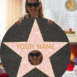 Custom Name And Photo Round Carpet,Hollywood Walk of Fame Star Carpet