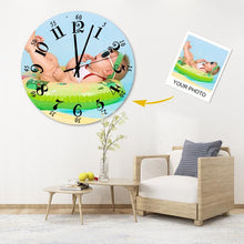 Load image into Gallery viewer, Custom Meaningful Gift Photo Wall Clock Environmental Wood Material