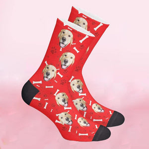 Custom Bone Pattern Pet Face Socks