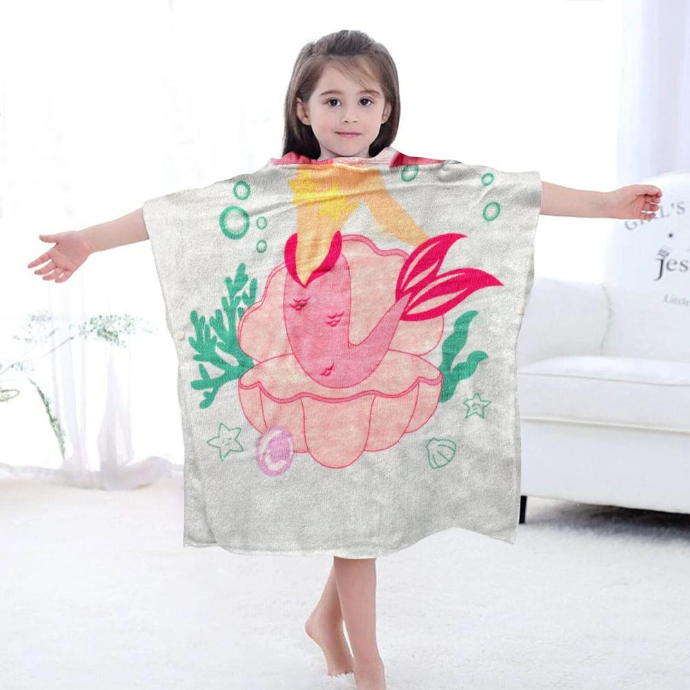 Hooded Towel for Kids Swimsuit Cover Up for Beach, Pool, Bath, Poncho Towel, Wearable Beach Towel, Pink Mermaid