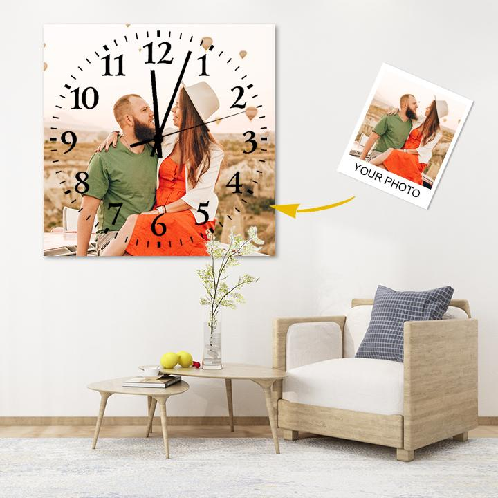 Custom Meaningful Gift Couple Photo Square Wall Clock