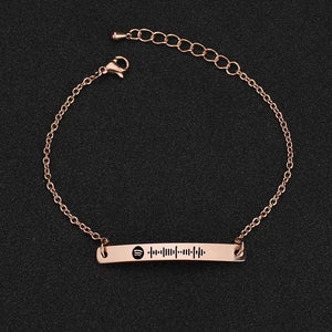 Scannable Spotify Code Bracelet 3D Engraved Vertical Bar Bracelet Gifts For Her