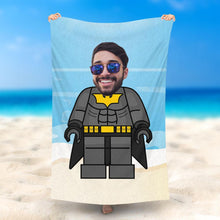 Load image into Gallery viewer, Custom Photo Beach Towel, Quick Dry Bath Towel, Swimming Towel, Lego-Style beach towel, Batman