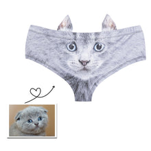 Load image into Gallery viewer, Custom Photo Women's Panties with cute animal ears, Sexy throngs, Ladies'  underwear, Fluffy Kitty