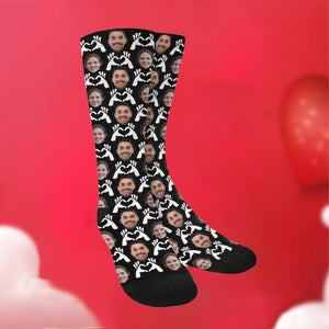 "Custom Funky Gift ""Hand Heart"" Face Socks"