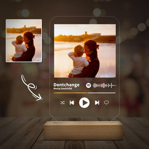 Custom Scannable Spotify Code Music Night Light Plaque Surprise Gift,Happy Mother's Day