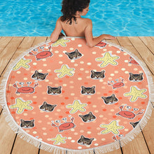 Load image into Gallery viewer, Custom Photo Round Beach Towel with edging, Quick Dry Bath Towel, Swimming Towel, lovely crab prints, create your own beach towel
