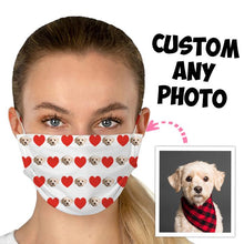 Load image into Gallery viewer, Custom photo Mask, Face Cover, unique mask, surprise gift, personalized photo mask, custom photo of your dog